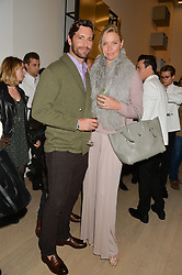JODIE KIDD and DAVID BLAKELEY at an evening of Fashion, Art & design hosted by Ralph Lauren and Phillips at the new Phillips Gallery, 50 Berkeley Square, London on 22nd October 2014.