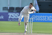Jake Libby bowling during the Specsavers County Champ Div 2 match between Sussex County Cricket Club and Nottinghamshire County Cricket Club at the 1st Central County Ground, Hove, United Kingdom on 28 September 2017. Photo by Simon Trafford.