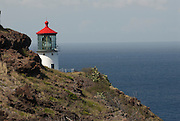 An eye level view of the Makapu'u Lighthouse on the east of of Oahu in Hawaii.