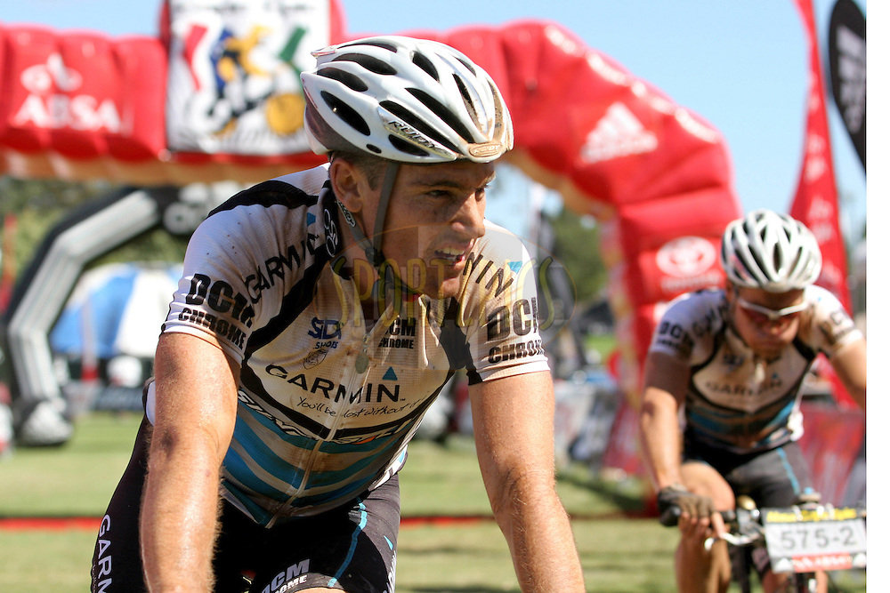 WESTERN CAPE, SOUTH AFRICA -  31 March 2008,Shaun Mackenzie from the Garmin/DCM team leads home teammate Renato Albrecht during stage three of the 2008 Absa Cape Epic Mountain Bike stage race from Calitzdorp Spa.to Langenhoven High School in Riversdale, Western Cape, South Africa..Photo by Patrick Cruywagen/SPORTZPICS