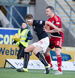 Falkirk's Peter Grant and Ayr United's Nicky Devlin. Falkirk 1 v 1 Ayr United, Scottish Championship game played 14/1/2017at The Falkirk Stadium .