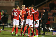 Crewe players celebrate Shaun Miller's first goal for Crewe during the EFL Sky Bet League 2 match between Crewe Alexandra and Exeter City at Alexandra Stadium, Crewe, England on 20 February 2018. Picture by Graham Holt.