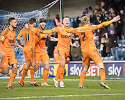 Freddie Sears celebrates his goal with team mates during the Sky Bet Championship match between Millwall and Ipswich Town at The Den, London, England on 17 January 2015. Photo by David Charbit.