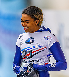 17.01.2020, Olympia Eiskanal, Innsbruck, AUT, BMW IBSF Weltcup Bob und Skeleton, Igls, Skeleton, Damen, 2. Lauf, im Bild Valentina Margaglio (ITA) // Valentina Margaglio of Italy reacts after her 2nd run of women's Skeleton competition of BMW IBSF World Cup at the Olympia Eiskanal in Innsbruck, Austria on 2020/01/17. EXPA Pictures © 2020, PhotoCredit: EXPA/ Stefan Adelsberger