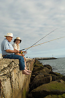 Senior Couple Fishing at the Beach
