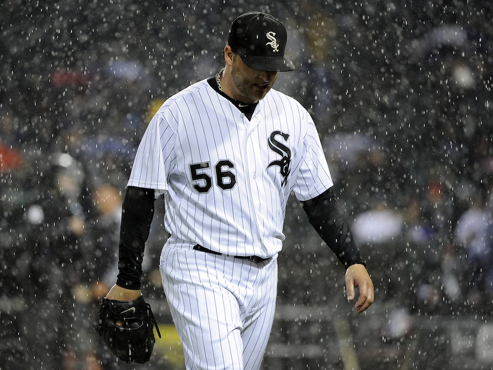 CHICAGO - SEPTEMBER 27:  Mark Buehrle #56 of the Chicago White Sox walks toward thd dugout during the game against the Toronto Blue Jays on September 27, 2011 at U.S. Cellular Field in Chicago, Illinois.  Buehrle's appearance could be his last in a White Sox uniform. The White Sox defeated the Blue Jays 2-1.  (Photo by Ron Vesely)   Subject: Mark Buehrle..