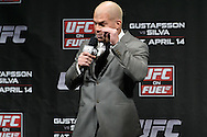 "STOCKHOLM, SWEDEN, APRIL 13, 2012: Tito Ortiz talks to fans during the UFC ""Fight Club"" question and answer session inside the Ericsson Globe Arena, Stockholm."