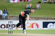 Firebirds Jimmy Neesham bowling during the T20 Super Smash cricket game, Northern Knights v Wellington Firebirds played at Seddon Park, Hamilton, New Zealand on Saturday 22 December 2018.<br /> <br /> Copyright photo: &copy; Bruce Lim / www.photosport.nz