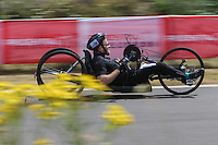 LONDON UK 29TH JULY 2016:  James Pierce (GBR). Prudential RideLondon Handcycle Grand Prix at the London Velo Park. Prudential RideLondon in London 29th July 2016<br /> <br /> Photo: Jed Leicester/Silverhub for Prudential RideLondon<br /> <br /> Prudential RideLondon is the world&rsquo;s greatest festival of cycling, involving 95,000+ cyclists &ndash; from Olympic champions to a free family fun ride - riding in events over closed roads in London and Surrey over the weekend of 29th to 31st July 2016. <br /> <br /> See www.PrudentialRideLondon.co.uk for more.<br /> <br /> For further information: media@londonmarathonevents.co.uk