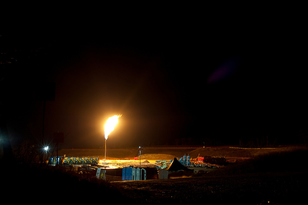 Flaring a well in Jefferson Township, Greene County.  <br /> <br /> &copy; Martha Rial 2012