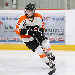 BURLINGTON, ON - SEP 9:  Colin Rigney #7 of the Orangeville Flyers during the pregame warm. OJHL regular season game between the Orangeville Flyers and the Burlington Cougars. Orangeville Flyers and Burlington Cougars  on September 9, 2016 in Burlington, Ontario. (Photo by Tim Bates / OJHL Images)
