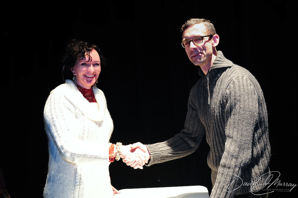 Chuck Palahniuk meets with fans after speaking at The Music Hall in Portsmouth, NH. Nov. 3, 2011
