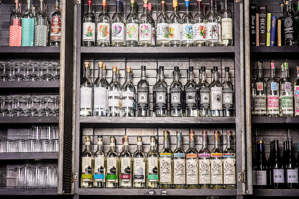Washington, D.C. - February 21, 2017: The top shelf mezcal behind a the bar at Espita Mezcaleria in Washington D.C.<br /> <br /> <br /> CREDIT: Matt Roth for The New York Times<br /> Assignment ID: 30203038A