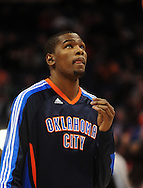 Feb. 4, 2011; Phoenix, AZ, USA; Oklahoma City Thunder forward Kevin Durrant (35) reacts on the court against the Phoenix Suns at the US Airways Center. The Thunder defeated the Suns 111-107. Mandatory Credit: Jennifer Stewart-US PRESSWIRE