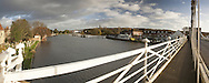 Panoramic view of the River Thames from Marlow suspension bridge looking towards The Complete Angler Restaurant, Buckinghamshire, Uk
