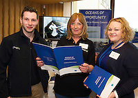 11/11/2015 Repro free:   More than 300 students visited the Marine Institute for Galway Science &amp; Technology Festival and the Sea for Society project. At the event were <br /> The HR team David Mullen , Jane Blair and Catherine Johnston Human Resources Marine Institute Photo:Andrew Downes, xposure.