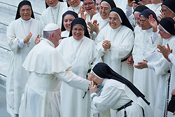 Pope Francis leads his traditional Wednesday General Audience in the Paul VI Audience Hall in Vatican City on August 22, 2018. 22 Aug 2018 Pictured: Pope Francis greets and blesses a group of nuns during his Wednesday General Audience in the Paul VI Audience Hall in Vatican City on August 22, 2018. Photo credit: Stefano Costantino / MEGA TheMegaAgency.com +1 888 505 6342