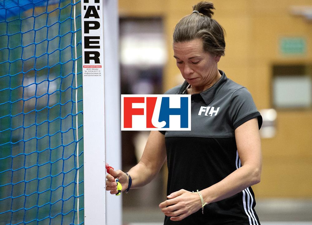 BERLIN - Indoor Hockey World Cup<br /> Namibia - Ukraine<br /> foto: Umpire SCHMITZ Gabriele <br /> WORLDSPORTPICS COPYRIGHT FRANK UIJLENBROEK