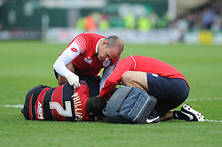 Queen Park Rangers' Matt Phillips goes down after a knock in the face from Yeovil Town's Jamie McAllister- Photo mandatory by-line: Alex James/JMP - Tel: Mobile: 07966 386802 21/09/2013 - SPORT - FOOTBALL - Huish Park - Yeovil - Yeovil Town V Queens Park Rangers - Sky Bet Championship