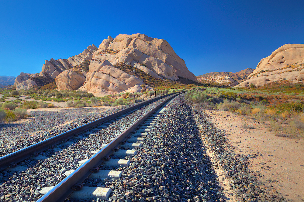 Mormon Rocks And Railroad Tracks - North View From Railway Bed - HDR