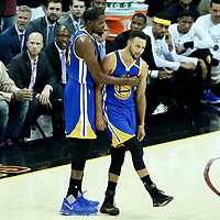 09 June 2017: Golden State Warriors forward Kevin Durant (35) is seen next to Golden State Warriors guard Stephen Curry (30) during the Cleveland Cavaliers 137-11 victory over the Golden State Warriors, in game 4 of the 2017 NBA Finals, at  the Quicken Loans Arena, Cleveland, Ohio, USA.