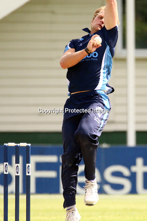 Ace's pace bowler Shawn Hicks in action.<br /> Ford Trophy Cricket, Auckland Aces v Wellington Firebirds, 6 January 2016 at Eden Park Outer Oval, Auckland, New Zealand.<br /> Copyright photo: Margot Butcher / www.photosport.nz