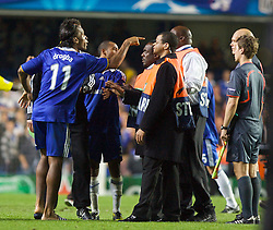 LONDON, ENGLAND - Wednesday, May 6, 2009: Chelsea's Didier Drogba attacks referee Tom Henning Ovrebo at the end of the UEFA Champions League Semi-Final 2nd Leg match at Stamford Bridge. (Photo by Carlo Baroncini/Propaganda)