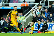 Joselu (#21) of Newcastle United chases after a pass during the Premier League match between Newcastle United and Brighton and Hove Albion at St. James's Park, Newcastle, England on 30 December 2017. Photo by Craig Doyle.