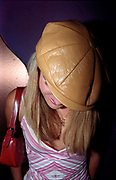 A girl wearing a brown hat and red handbag, Club Class, Ikon, Maidstone, Kent, 2002
