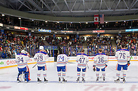 PENTICTON, CANADA - SEPTEMBER 16: Nick Ellis #34, Jesse Puljujarvi #39, Ethan Bear #74, Joey Benik #47, Drake Caggiula #36 and Drake Caggiula #36 of Edmonton Oilers line up on September 16, 2016 at the South Okanagan Event Centre in Penticton, British Columbia, Canada.  (Photo by Marissa Baecker/Shoot the Breeze)  *** Local Caption *** Nick Ellis; Jesse Puljujarvi; Ethan Bear; Joey Benik; Drake Caggiula; Ben Betker;