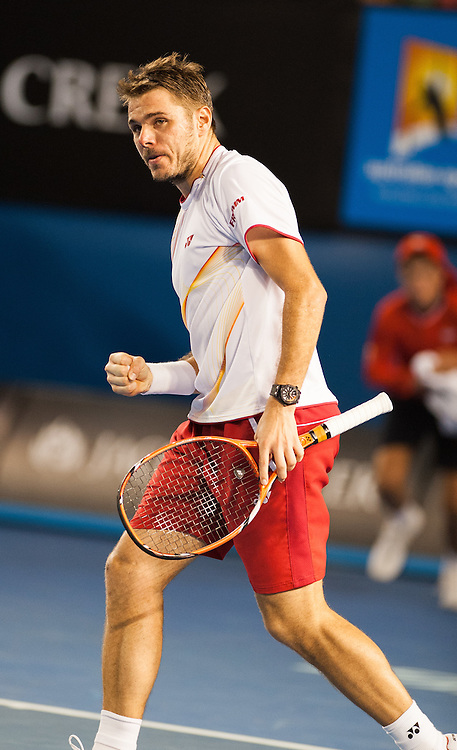 Stanislas Wawrinka of Switzerland has won his way through to his first Grand Slam final, the eighth seed outlasting T. Berdych of the Czech Republic 6-3 6-7(1) 7-6(3) 7-6(4) in a tense four-set semifinal at Rod Laver Arena on Thursday night.<br /> <br /> The Swiss will play either compatriot Roger Federer or top seed Rafael Nadal in the men's singles final on Sunday night after defeating seventh seed Berdych, who was looking to advance to his first major final since losing to Nadal at Wimbledon in 2010.Stanislas Warinka of Switzerland claimed his first berth in the Australian Open finals as he beat Tomas Berdych of the Czech Republic.