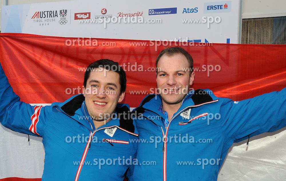 14.02.2014, Austria Tirol House, Krasnaya Polyana, RUS, Sochi, 2014, im Bild PK BOB<br /> BENJAMIN MAIER, MARKUS SAMMER // PK BOB<br /> BENJAMIN MAIER, MARKUS SAMMER during the Olympic Winter Games Sochi 2014 at the Austria Tirol House in Krasnaya Polyana, Russia on 2014/02/14. EXPA Pictures &copy; 2014, PhotoCredit: EXPA/ Erich Spiess