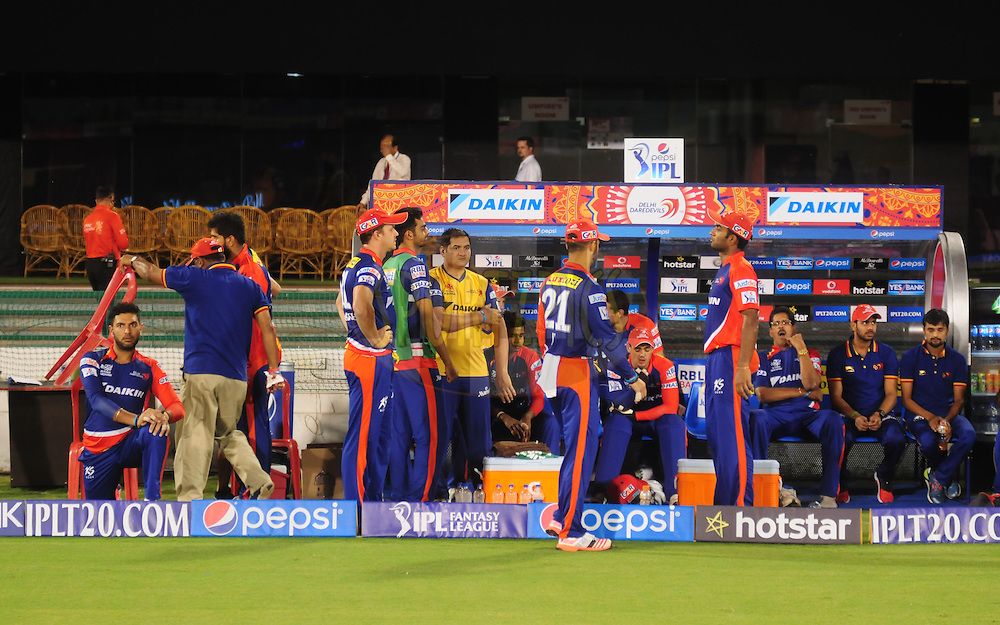 DD players in dugout before match 45 of the Pepsi IPL 2015 (Indian Premier League) between The Delhi Daredevils and the Sunrisers Hyderabad held at the Shaheed Veer Narayan Singh International Cricket Stadium in Raipur, India on the 9th May 2015.<br /> <br /> Photo by:  Arjun Panwar / SPORTZPICS / IPL