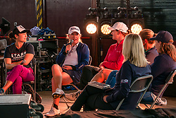 Pictured: Fringe by the Sea, North Berwick, East Lothian, Scotland, United Kingdom, 06 August 2019. Top female golfers competing in the Aberdeen Standard Investments Ladies Scottish Open this week appear on a panel and take questions from the audience, as part of a podcast called On the Dance Floor. Pictured: from L to R Tiffany Joh (USA), Bronte Law (UK), Caroline Masson (Germany), Angela Stanford (USA), Beth Allen (USA) and sports broadcaster Emma Dodds.<br /> <br /> Sally Anderson | EdinburghElitemedia.co.uk