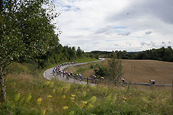 The peloton starts a descent during the 97,1 km second stage of the 2016 Ladies' Tour of Norway women's road cycling race on August 13, 2016 between Mysen and Sarpsborg, Norway. (Photo by Balint Hamvas/Velofocus)