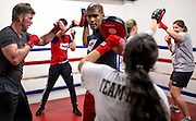 TORONTO, Ont. (11/03/15) --- Ibrahim Kamal trains with Mentoring Juniors Kids Organization athletes at his boxing gym in Toronto at Queen and Dufferin on Nov. 3, 2015. This is the first space that MJKO can call their own and is still not officially open. MJKO typically works with at-risk youth in Toronto, offering boxing classes.
