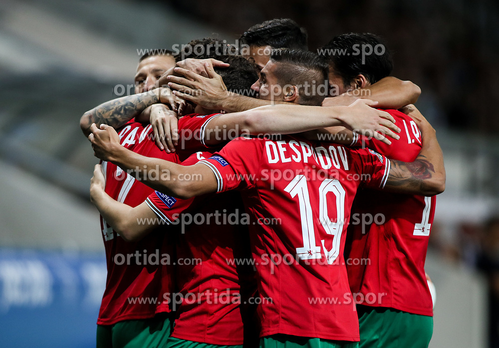 Players of Bulgaria celebrate after Bozhidar Kraev scored first goal for Bulgaria during football match between National Teams of Slovenia and Bulgaria in Final Tournament of UEFA Nations League 2019, on September 6, 2018 in SRC Stozice, Ljubljana, Slovenia. Photo by Morgan Kristan / Sportida