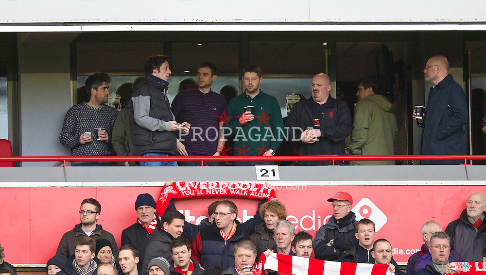 LIVERPOOL, ENGLAND - Sunday, January 5, 2014: Liverpool band The Tea Street Band in the Red Touch Media Executive box during the FA Cup 3rd Round match against Oldham Athletic at Anfield. (Pic by David Rawcliffe/Propaganda)