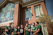 The Singing Men of Ohio entertain the crowd at the Ohio University Residential Housing Phase 1 opening ceremony as they gathered to watch the ribbon cutting event on Saturday, August 29, 2015 at the Living Learning Center on the Ohio University campus in Athens, Ohio.