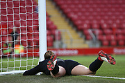Liverpool women goalkeeper Anke Preuss (1) lies stricken after fumbling the ball for Everton Women's goal 0-1 during the FA Women's Super League match between Liverpool Women and Everton Women at Anfield, Liverpool, England on 17 November 2019.