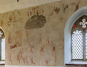 North Cove Medieval religious wall paintings of Crucifixion of Jesus Christ, church of Saint Botolph, North Cove, Suffolk, England, UK
