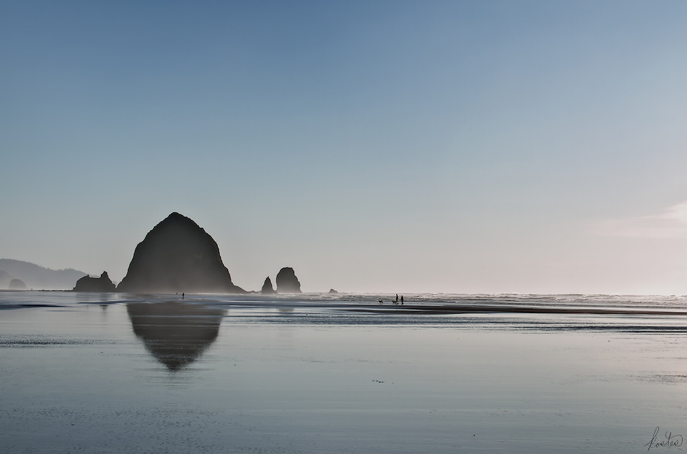 Late afternoon image of Haystack Rock in Cannon Beach, Oregon. Partly misty atmosphere made for the unusual lighting. The people and dogs add interest.