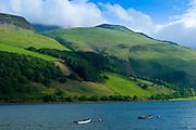 Fishing boats on Lake Tal-Y-LLyn, Snowdonia, Gwynned, Wales