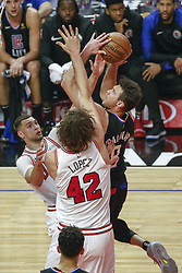 March 15, 2019 - Los Angeles, California, U.S - Los Angeles ClippersÃ• Danilo Gallinari (8) goes to basket while defended by Chicago Bulls' Robin Lopez (42) during an NBA basketball game between Los Angeles Clippers and Chicago Bulls Friday, March 15, 2019, in Los Angeles. The Clippers won 128-121. (Credit Image: © Ringo Chiu/ZUMA Wire)