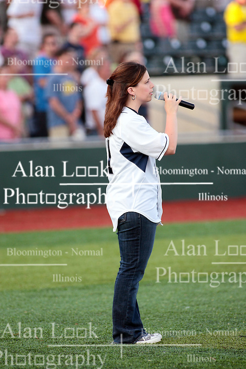 """1 June 2010: National Anthem singer. The Windy City Thunderbolts are the opponents for the first home game in the history of the Normal Cornbelters in the new stadium coined the """"Corn Crib"""" built on the campus of Heartland Community College in Normal Illinois."""