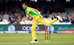 Australia's Mitchell Starc bowls during the ICC Cricket World Cup group stage match at Lord's, London.