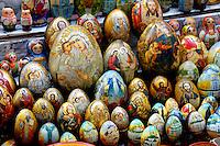 Stock photo of a Ukrainian souvenir painted eggs decorated with religious patterns Kiev Ukraine Horizontal