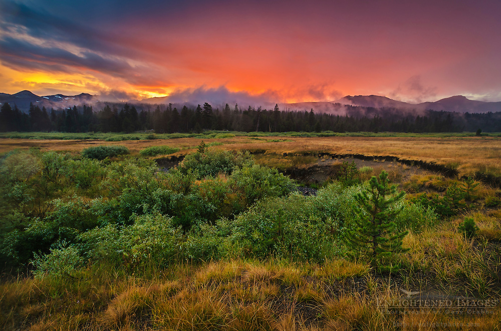 Clearing storm clouds at sunset over Faith Valley, Alpine County, California