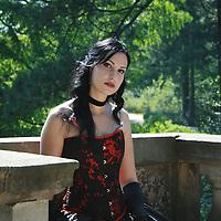 A beautiful young woman wearing regency dress