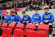 Leeds United substitutes on the bench during the EFL Sky Bet Championship match between Bristol City and Leeds United at Ashton Gate, Bristol, England on 9 March 2019.